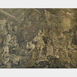 William Hogarth (English, 1697-1764)      Strolling Actresses Dressing in a Barn