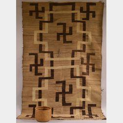 Hualapai Storage Basket and a Navajo Rug
