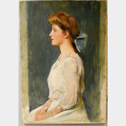 American School, 19th/20th Century      Profile Portrait of a Seated Girl in White.