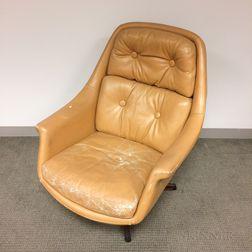 Asko Tan Leather Reclining Swivel Armchair