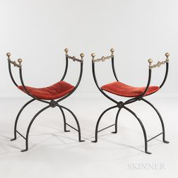 Pair of Renaissance Revival Iron and Bronze Savonarola Chairs