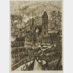 Samuel Chamberlain (American, 1895-1975)  Early Morning Market, Senlis
