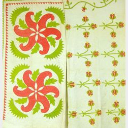 Two Red and Green Applique Cotton Quilts