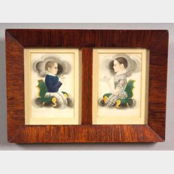 Attributed to James Sanford Ellsworth (American, 1802/03- 1874)      A Pair of Portraits of Two Children.