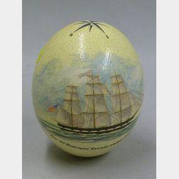 "Hand-painted Ostrich Egg ""Ship Mt. Washington December 20, 1847 Kennebunk,"""