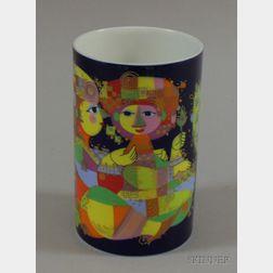 Bjorn Wiinblad Designed Cylindrical Porcelain Vase