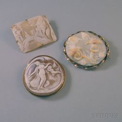 Three Shell-carved Cameo Brooches