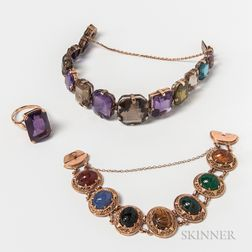 14kt Gold and Amethyst Ring, Carved Hardstone Scarab Bracelet, and Gemstone Bracelet