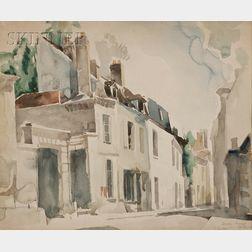 Earl (Bill) Horter  (American, 1881-1940)      Street View, Senlis, France