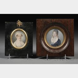Two Framed Portrait Miniatures of Women on Ivory