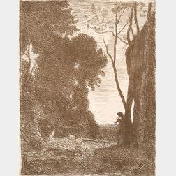 Jean-Baptiste-Camille Corot (French, 1796-1875)      Le petit berger (2è planche)