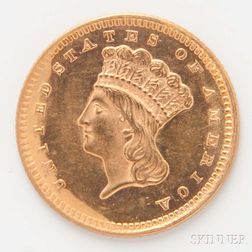 1873 $1 Open 3 Gold Coin.
