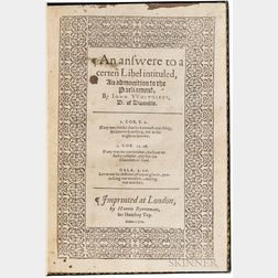 Whitgift, John (1530?-1604) An Answere to a Certen Libel Intituled, An Admonition to the Parliament.