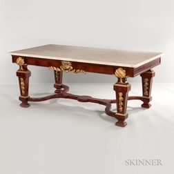 Louis XIV-style Ormolu-mounted, Kingwood and Tulipwood-veneered, Marble-top Center Table