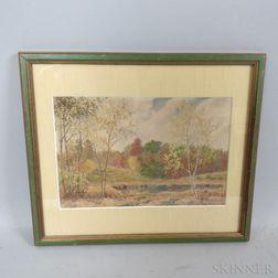 Arthur Fuller Davis (American, 1863-1953)      Autumn Landscape with Pond