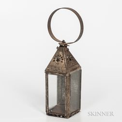 Small Tin and Glass Whale Oil Lantern