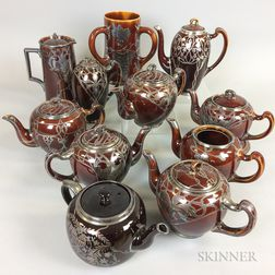 Twelve Pieces of Brown-glazed Silver Overlay Ceramic Tableware
