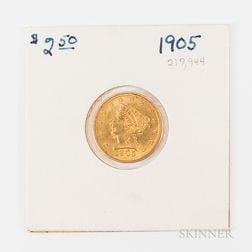 1905 $2.50 Liberty Head Gold Quarter Eagle