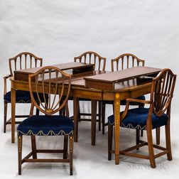 Federal-style Inlaid Mahogany Dining Table and Eight Chairs