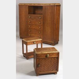 Louis Majorelle Art Deco Parcel-gilt Carved Mahogany and Fruitwood Veneer Wardrobe   and Two Side Tables