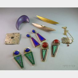 Assortment of Mostly Sterling Silver Artist-designed Jewelry