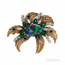 Raymond Yard 18kt Gold, Opal, Jade, Sapphire, and Diamond Brooch
