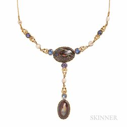 Art Nouveau Gold and Boulder Opal Necklace