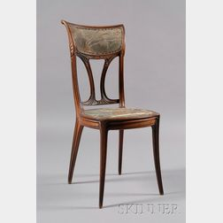 French Art Nouveau Carved Rosewood Side Chair