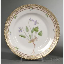"Set of Twelve Royal Copenhagen Porcelain ""Flora Danica"" Pattern Bread Plates"