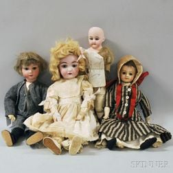 Early Composition and Three Bisque Head Dolls