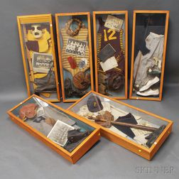 Six Shadow Boxes with Assembled Sports Memorabilia