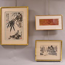 Four Framed Japanese and Chinese Watercolors