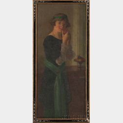 Laura Lee (American, 1867-1954)      Self Portrait, Full Length, Holding Fruit.