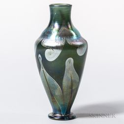 Tiffany Green Favrile Decorated Vase