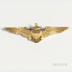 18kt Gold Identified Tiffany Naval Aviator Wings