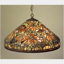 Large Leaded Art Glass Hanging Shade