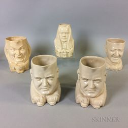 Five Ceramic Face Jugs