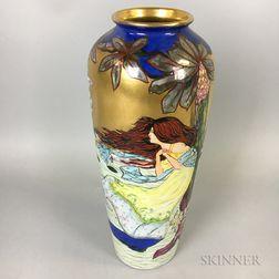 Czechoslovakian Art Nouveau Ceramic Vase