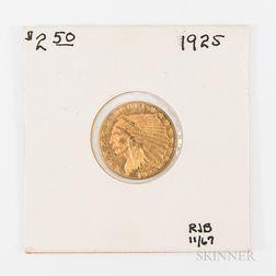 1925 $2.50 Indian Head Gold Quarter Eagle