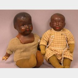 Two Black Composition Dolls