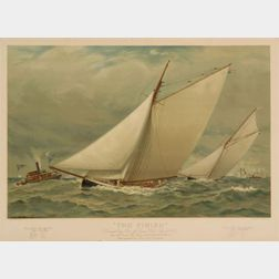 Louis Prang & Co., publisher (Boston) The Finish. Americas Cup Race, off Sandy Hook, Sept. 16, 1885 between the American Sloop Purit