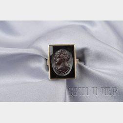 14kt Gold, Hardstone Cameo Cuvette, and Enamel Ring, Allsopp-Steller, Inc.