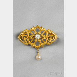 Renaissance Revival 18kt Gold, Diamond, and Pearl Pendant/Brooch