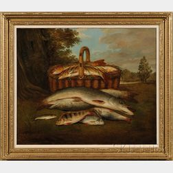 American School, 19th Century      Catch of the Day with Trout, Salmon, and Perch.