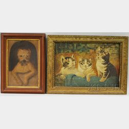 American School, 19th Century      Portrait of a Terrier and a Portrait of Three Kittens in a Basket.