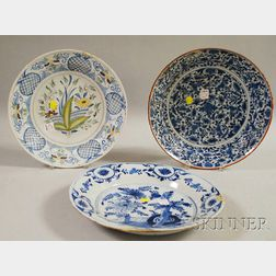 Three Dutch Delft Floral-decorated Ceramic Chargers