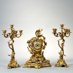 French Louis XV-style Gilt-bronze Clock Garniture