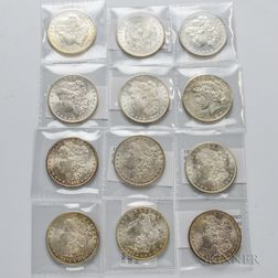 Eleven Mostly Uncirculated Morgan Dollars and a 1927 Peace Dollar