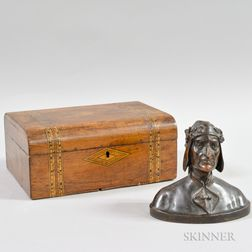 Small Bronze Bust of Dante and an Inlaid Document Box