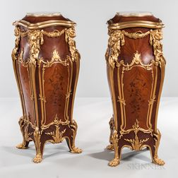 Pair of Louis XV-style Pedestals with Gilt-patinated Bronze Mounts